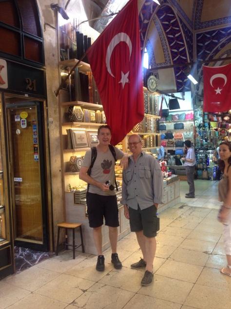 Steve & David under the Turkish Flag in the Grand Bazaar.