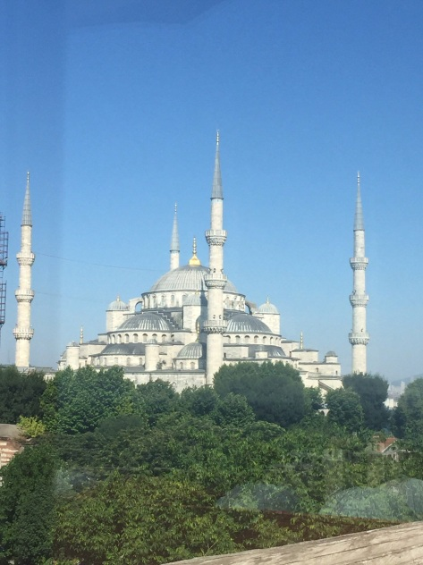 The Blue Mosque is a huge impressive building dominating the sky line of the Old City.