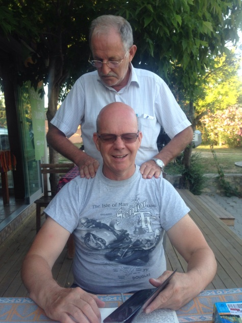 Steve receiving a massage by the kind Turkish Gent.
