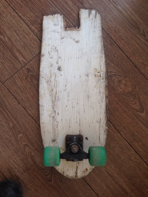 Managed to find a broken skateboard to rob a wheel from.