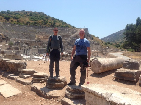 David & Steve by the coliseum ruins at Ephesus.