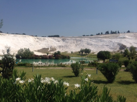 Huge sodium bicarbonate deposits at Pamukkale.
