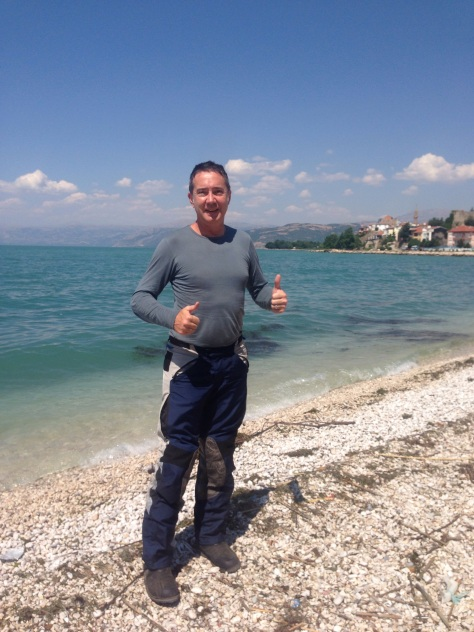 David standing at alongside one of the massive fresh water lakes at Egirdir.