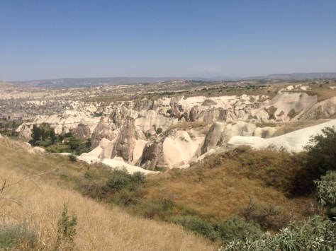The Ancient ruins of the Cappadocia region with cave homes.
