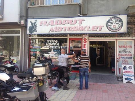 Steve sorting out his tyres at Harput Motorcycles.