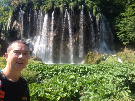 David and the amazing Plitvica Waterfalls that scatter the lake area.