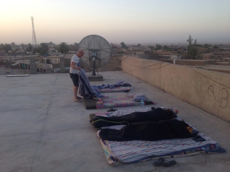 Temps were so high inside and with not a/c and power blackouts it was best to sleep on the roof