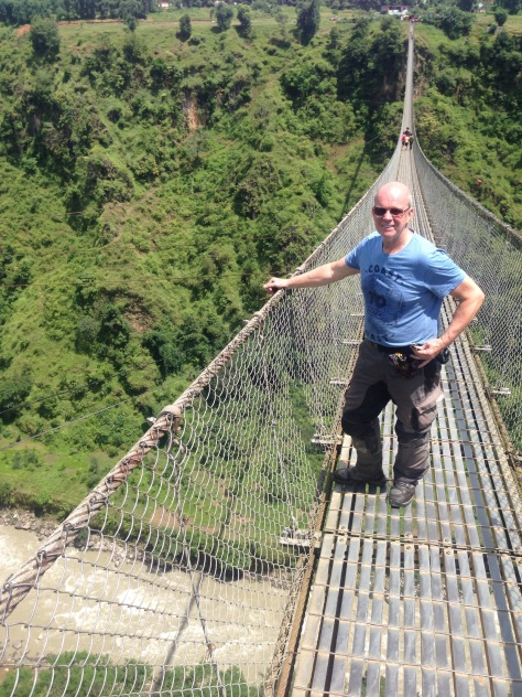 Steve on the longest suspension bridge in Nepal. Yeh, it's certainly long when you start to walk on it!