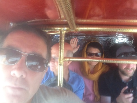 Having a fun ride in a Tuk Tuk in Quetta on way to station complete with armed escort
