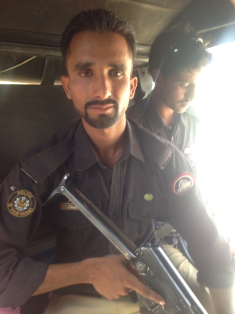 One of the many officers who were assigned to protect us on our journey through Pakistan
