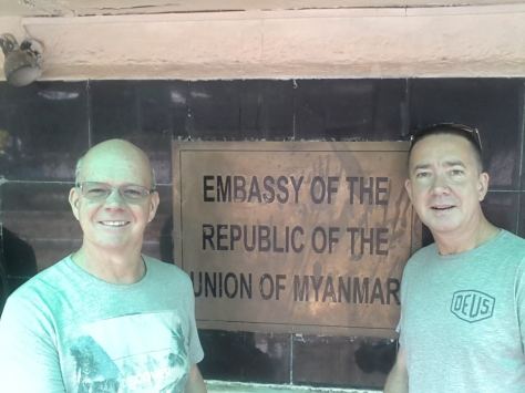 Hangin outside the Myanmar Consulate, New Delhi