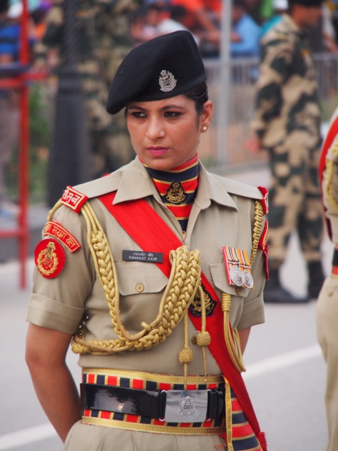 A beautiful Indian Boarder Guard at the Wagah Crossing