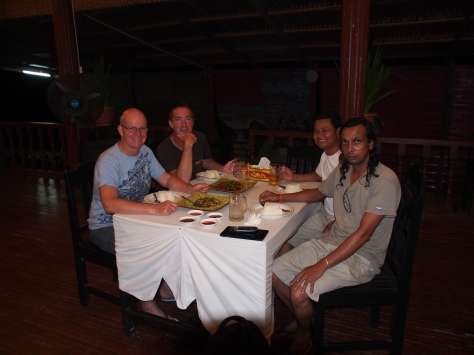 Bargyi, Ye, Steve and I relaxing over dinner.