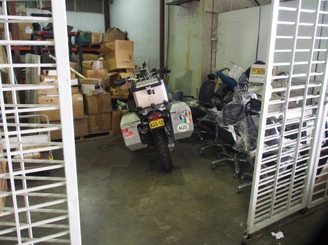 The bike safely locked away at Kuala Lumpur Cargo Village