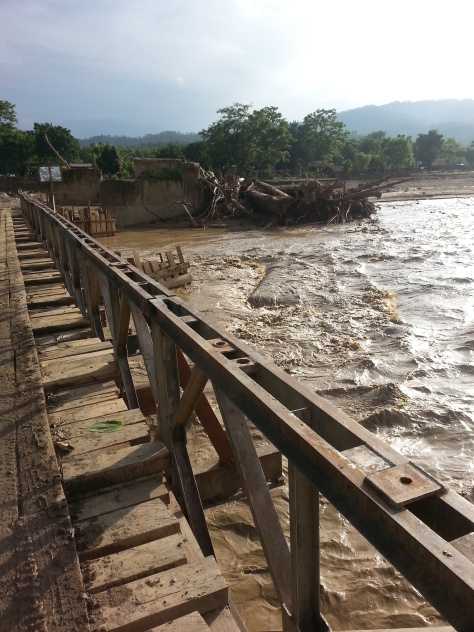 A temporary bridge after the original was washed away in the floods.